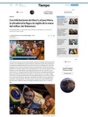 Tiempo 2.1-.2019-11-11 Con felicitaciones de Macri y el juez Moro, la ultraderecha llega a la región de la mano del militar [...]