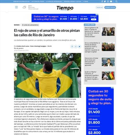 Tiempo1.1-.2019-11-11 El rojo de unos y el amarillo de otros pintan las calles de Río de Janeiro